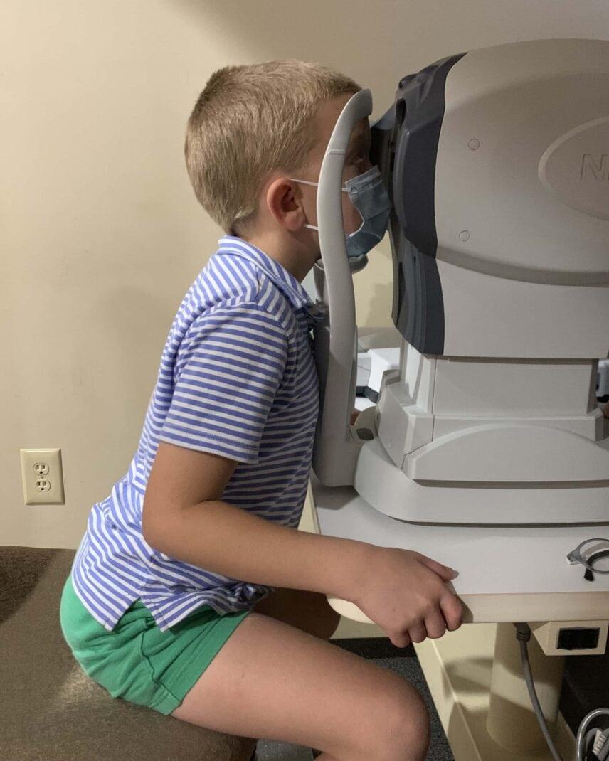 Kid getting an eye exam