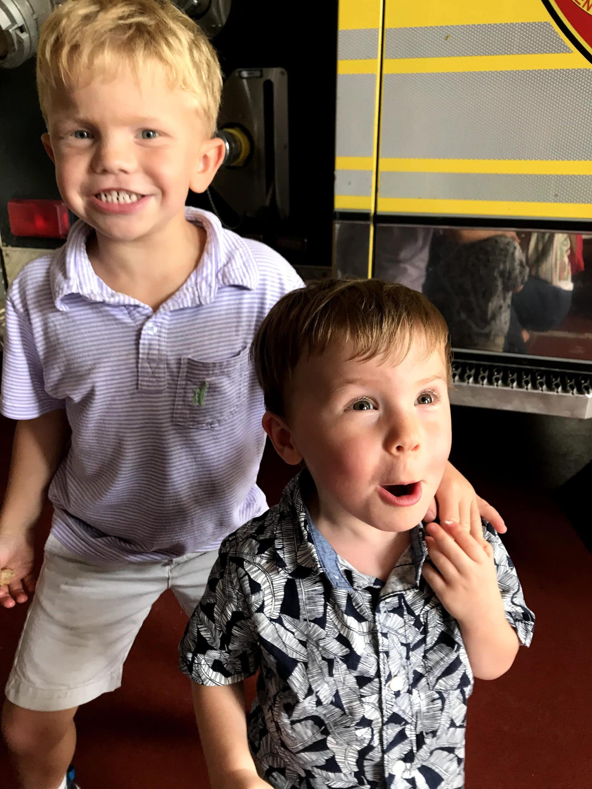 Kids excited to be at a firestation